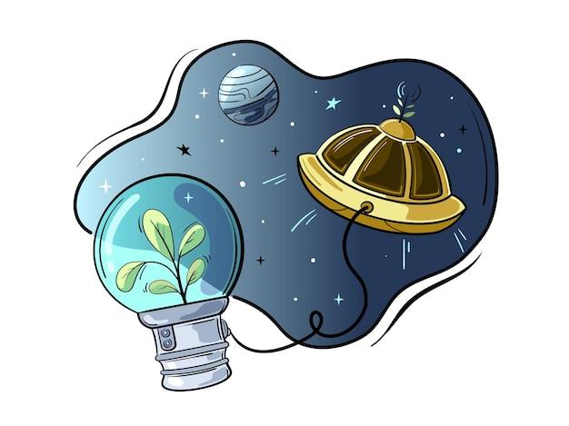 Die pflanze ist ein astronaut. das konzept der weltraumpflanzenproduktion. cartoon-stil.