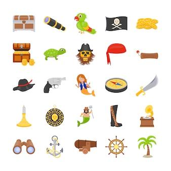 Die piraten flat icons