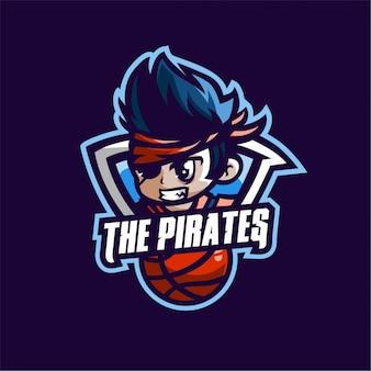Die piratenbasketballsport-logoschablone