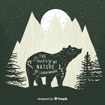 Die poesie der natur ist überall. beschriftung über wilden bären in den bergen