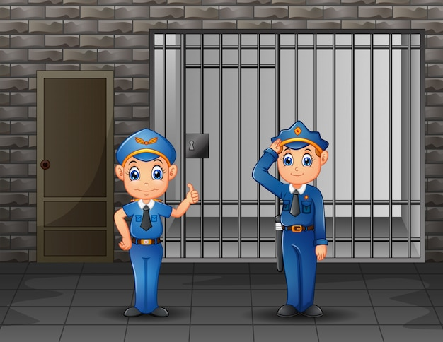 Die polizei bewacht eine gefängniszelle