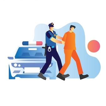 Die polizei hat einen verdächtigen eines strafverfahrens mit einem polizeiauto gefasst