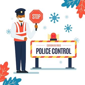 Die polizei kontrolliert das coronavirus