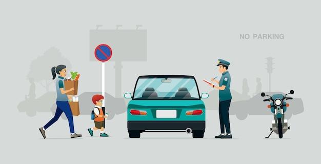Die polizei schrieb einen verkehrsbefehl für fahrzeuge zum parken an verbotenen orten.