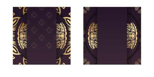 Die postkarte ist bordeauxrot mit einem luxuriösen goldmuster, bereit zum drucken.