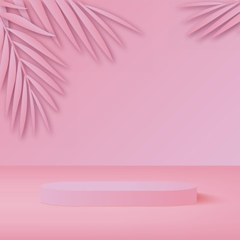Die produkte zeigen eine 3d-hintergrundpodiumsszene mit einer geometrischen plattform in rosa form an. vektor-illustration
