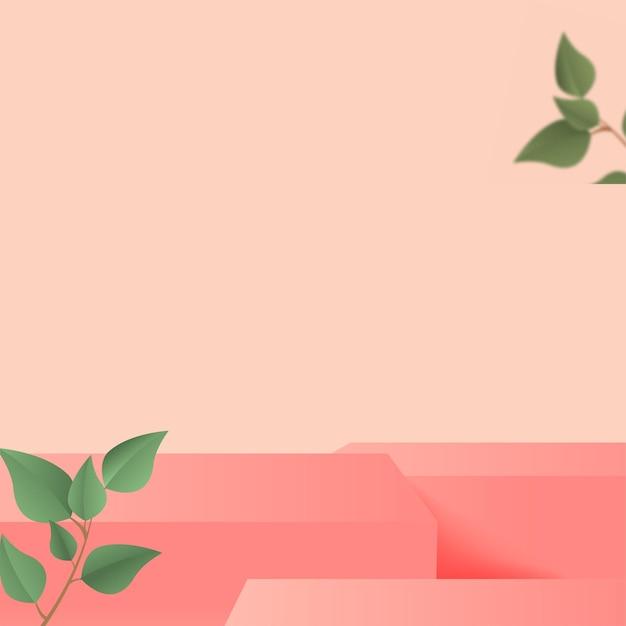Die produkte zeigen eine 3d-hintergrundpodiumsszene mit einer geometrischen plattform in rosa form und grünen blättern. vektor-illustration