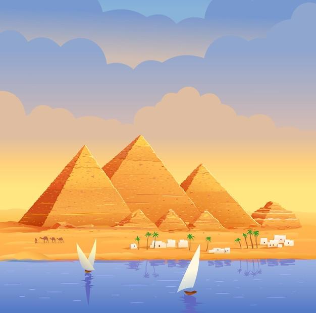 Die pyramiden ägyptens ägyptische pyramiden am abend auf dem fluss die cheops-pyramide in kairo in gizeh ägyptische steinstrukturen pyramiden
