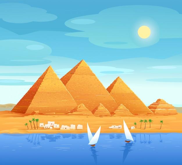 Die pyramiden von ägypten. ägyptische pyramiden am fluss. die cheops-pyramide in kairo in gizeh. ägyptische steinstrukturen