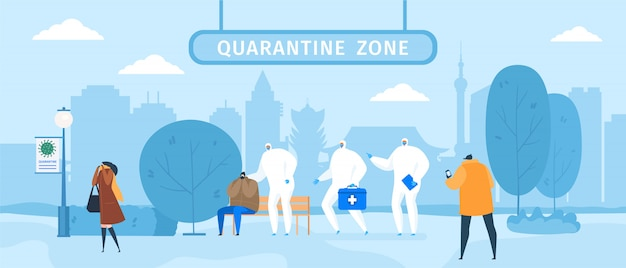 Die quarantänezone mit medizinern in schutztüchern und masken hilft menschen mit einer epidemischen erkrankung des coronavirus.