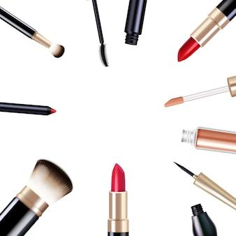 Die realistischen einzelteile des make-up, die mit wimperntusche und lippenstift eingestellt wurden, lokalisierten vektorillustration