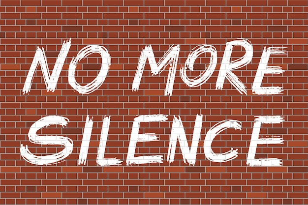 Die rechte des afroamerikaners protestieren gegen grunge-stil-schriftzug keine stille mehr auf der backsteinmauer. vektor-illustration.