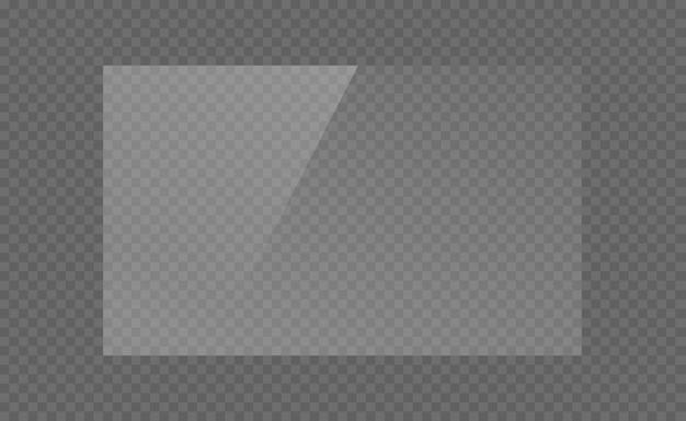 Die rechteckige glasplatte, spiegel, fenster. glasplatten oder banner isoliert auf transparentem hintergrund. lichteffekt für ein bild oder einen spiegel