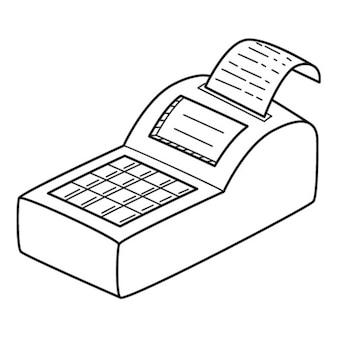 Die registrierkasse. lineares symbol. handgezeichnete schwarz-weiß-vektor-illustration.