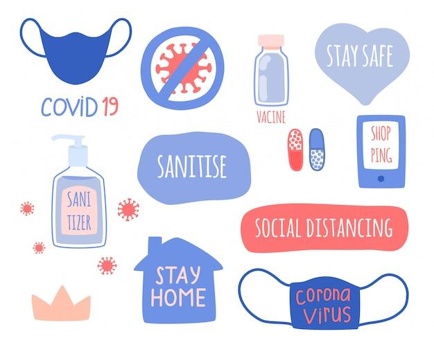 Die reihe der elemente des konzepts von coronavirus, hygiene und medizin.