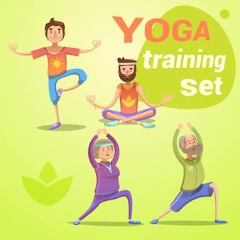 Die retro- karikatur des yoga, die mit jungen und senioren in den verschiedenen haltungen eingestellt wurde, lokalisierte vektorillustration