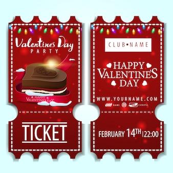 Die roten tickets für die party am valentinstag
