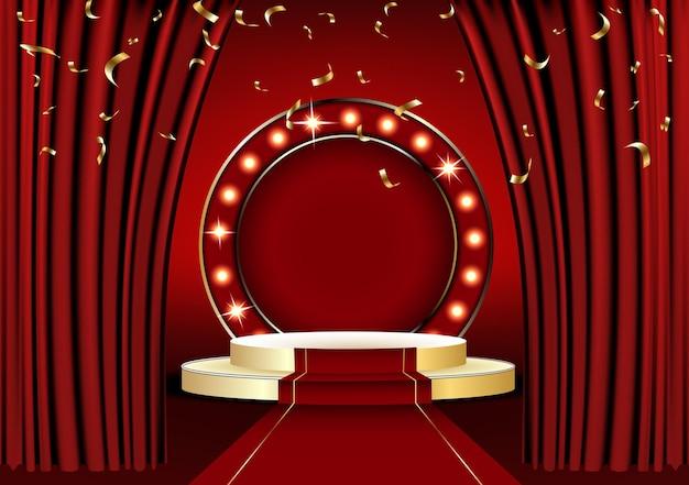 Die roten vorhänge sind die träger der theaterbühne und das goldene podium hat drei stufen