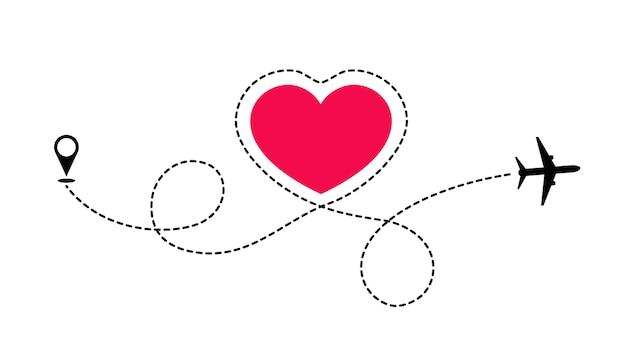 Die route der liebe reisen mit dem flugzeug. die ebene zeichnet gepunktete linien in form des herzens. liebesabenteuer.