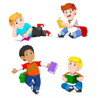 Die sammlung der jungen studieren mit ihren büchern mit den verschiedenen posierungen