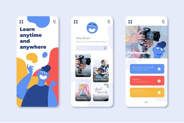 Die sammlung der kurs-app-bildschirme