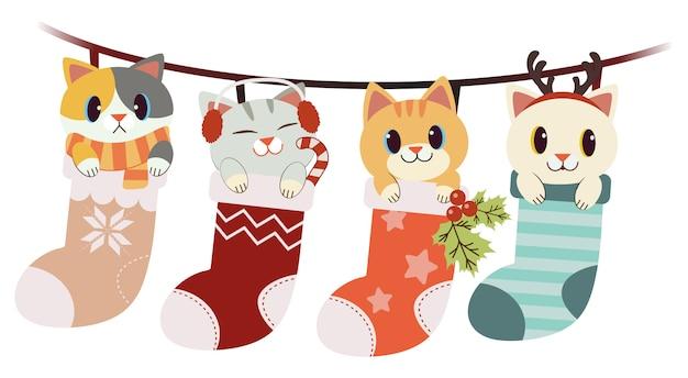 Die sammlung der netten katze in der großen socke stellte in das weihnachts- und winterthema ein