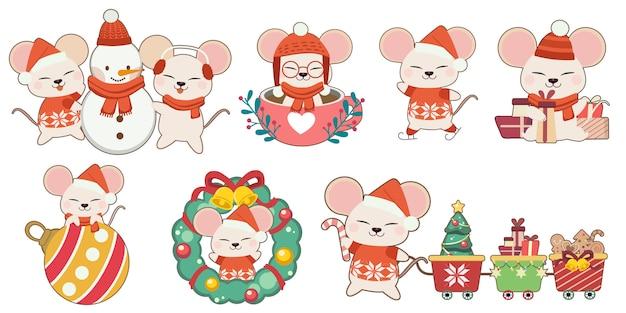 Die sammlung der netten maus im weihnachtsthemasatz. der charakter der netten maus mit freunden und weihnachtselementen in der flachen vektorart.