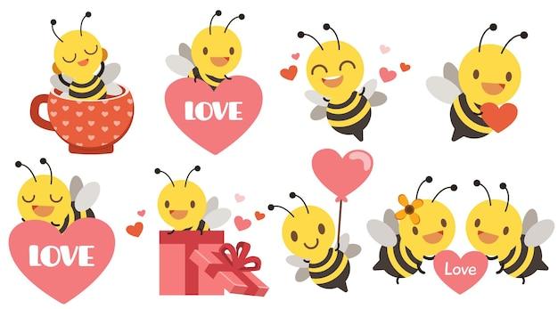 Die sammlung der niedlichen biene mit herz für valentinstag
