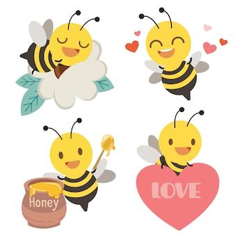 Die sammlung der niedlichen biene mit herz, honig und blume im flachen stil.