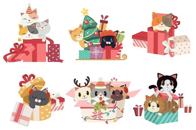 Die sammlung der niedlichen katze, die eine geschenkbox am weihnachtstag mit flachem vektorstil spielt.
