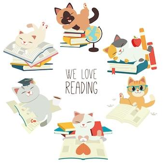 Die sammlung der niedlichen katze mit dem buch, über bildung und wir lieben es zu lesen