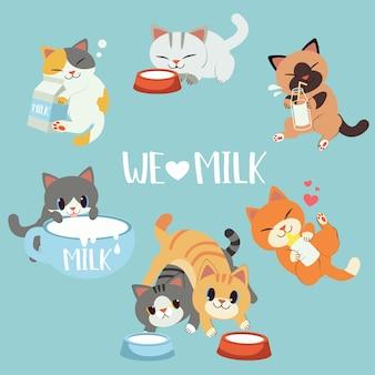 Die sammlung der süßen katzenliebesmilch. eine katze umarmt eine flasche milch und eine schachtel auf dem boden.