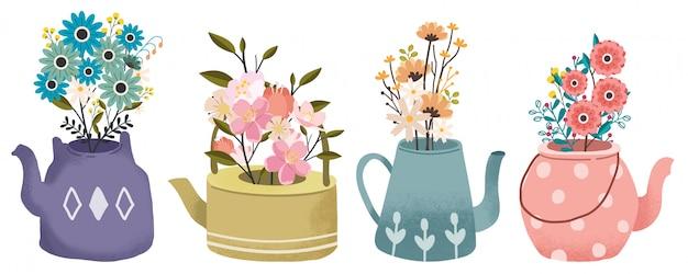 Die sammlung des blumenstraußes im teekannensatz. die frühlingsblume. die teatime eingestellt.