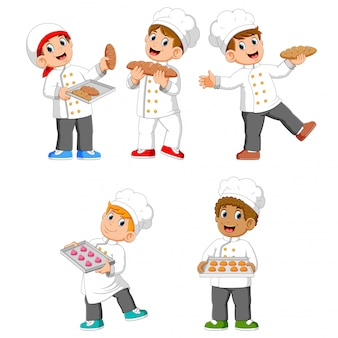 Die sammlung des kochs hält ihr brot und kekse