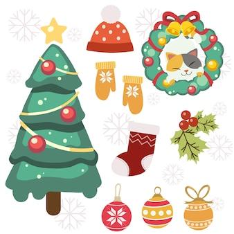 Die sammlung des netten weihnachtselementsatzes. der niedliche weihnachtsbaumwinterhandschuh und der winterhut und die socke und das stechpalmenblatt und der weihnachtsball