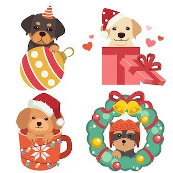 Die sammlung des niedlichen hundes im weihnachtsthema