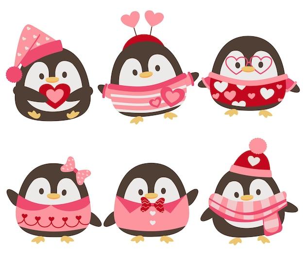 Die sammlung des niedlichen pinguins mit valentinstagsthema