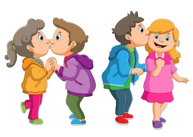 Die sammlung des süßen paares, das die liebe zur illustration küsst und teilt