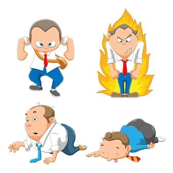 Die sammlung von arbeitern mit dem wütenden gesicht und dem traurigen gesicht trägt eine illustrationsuniform