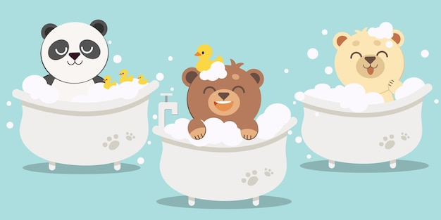 Die sammlung von bären und freunden mit badewanne und entengummi in flacher vektorillustration ab