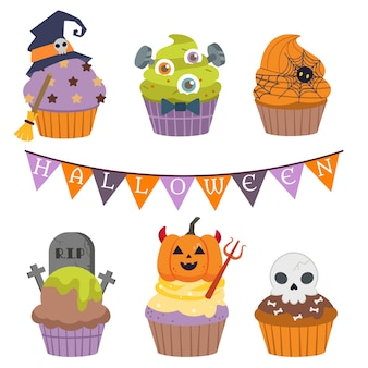 Die sammlung von halloween cupcake, illustrationen über halloween party