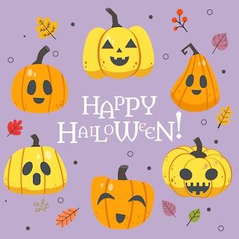 Die sammlung von halloween-kürbis mit text von glücklichem halloween mit herbstlaub im flachen vektorstil.