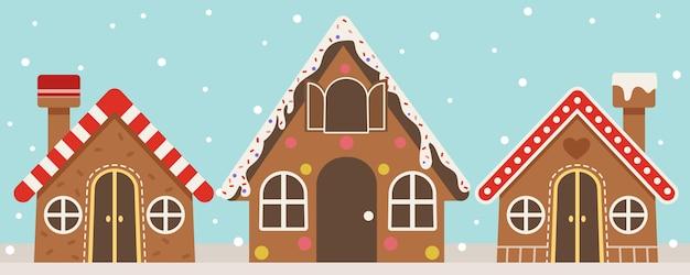 Die sammlung von lebkuchenhaus mit schneefall. das lebkuchenhaus in vielgestaltigem design. das lebkuchenhaus in der flachen vektorart.