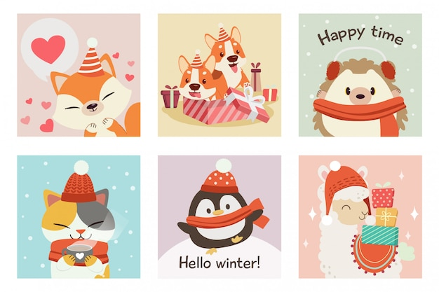 Die sammlung von niedlichen fuchs, corgi, igel, katze, pinguin, alpaka im winter und weihnachten thema festgelegt