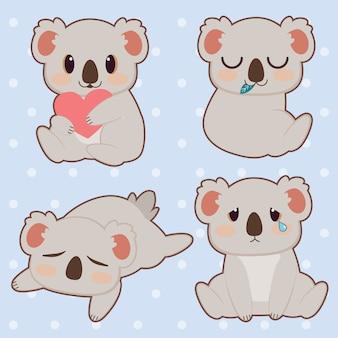 Die sammlung von niedlichen koala-set. der charakter eines niedlichen koalas, der ein herz umarmt und ein blatt isst und schläft und weint