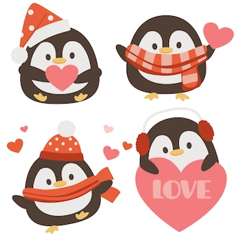 Die sammlung von niedlichen pinguin mit herz im flachen stil. grafische ressource über weihnachten und feiertage für hintergrund, grafik, inhalt, banner, aufkleberetikett und grußkarte.