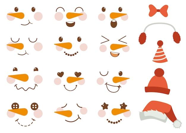 Die sammlung von niedlichen schneemanngesichtern und -element für weihnachtsfeier im flachen vektorstil.