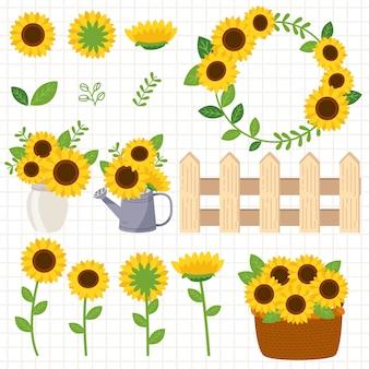 Die sammlung von sonnenblumen und zaun und wasser kann und glas und korb. die sonnenblume im glas und im wasser kann und korb. die süße sonnenblume im flachen vektor-stil.