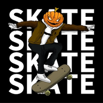 Die schädel-skateboard-kürbis-ilustration für t-shirt