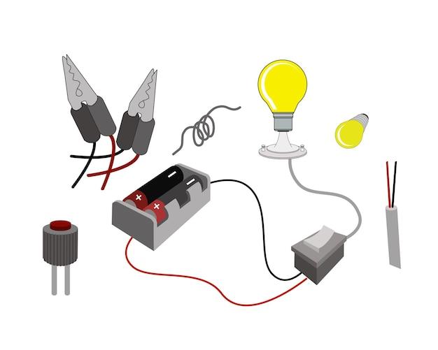 Die schaltung oder das funktionsprinzip von glühbirnen mit batterie